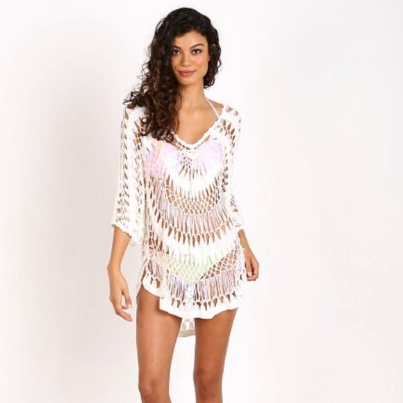 Wildfox Swim White Crochet Macrame Coverup Nwot Poshmark